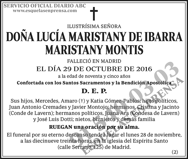 Lucía Maristany de Ibarra Maristany Montis